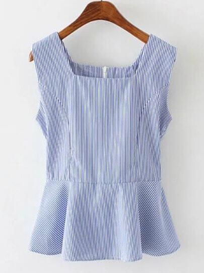 Blue Square Neck Stripe Ruffle Hem Blouse