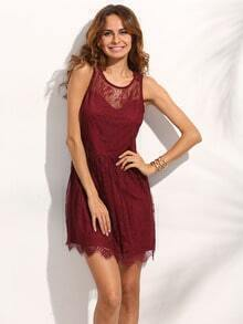 Burgundy Eyelash Lace Sleeveless Dress