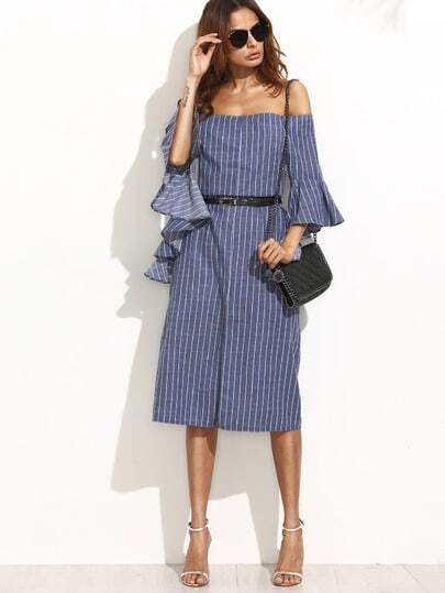Pinstripe Off Shoulder Frill Cuff Slit Dress