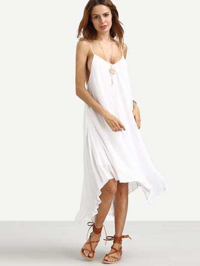 White Spaghetti Strap Tassel Backless Asymmetrical Dress