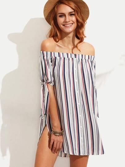 Multicolor Striped Tie Cuff Off The Shoulder Dress