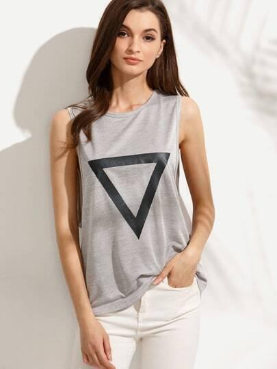 Grey Triangle Print Drop Armhole Sleeveless T-shirt