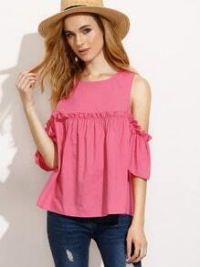 Hot Pink Ruffle Cold Shoulder Blouse