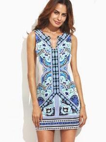 Multicolor Vintage Print Sleeveless Bodycon Dress