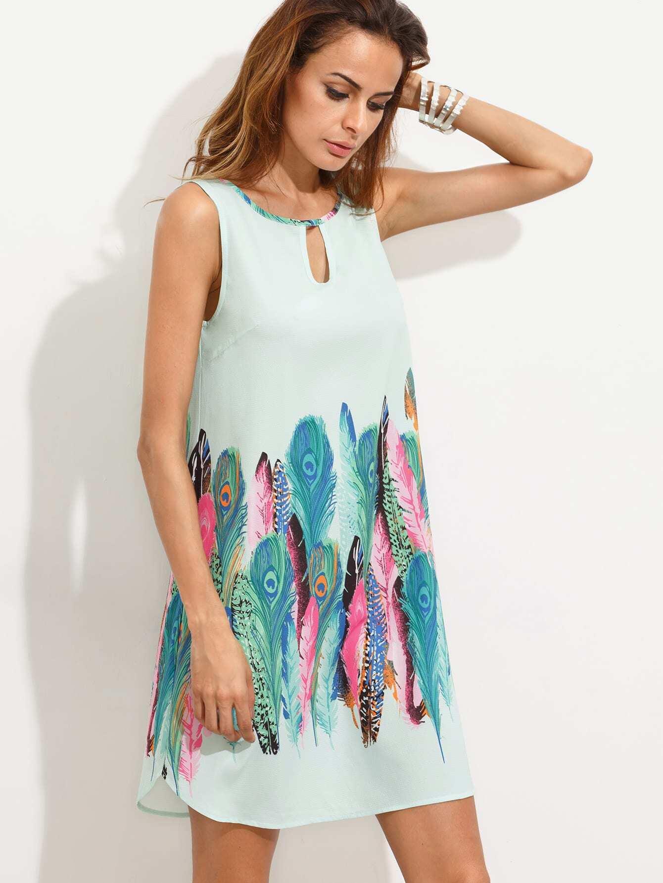 Multicolor Print Cutout Sleeveless Shift Dress