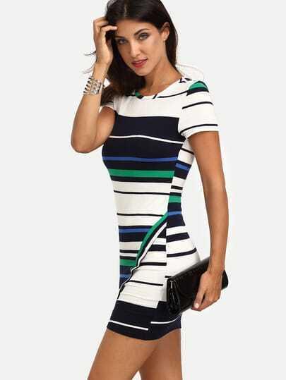 Multicolor Striped Short Sleeve Asymmetrical Bodycon Dress
