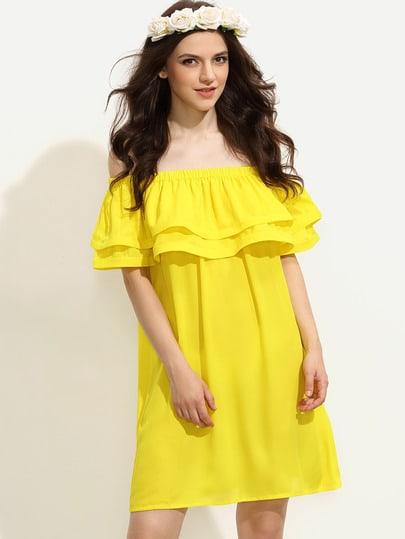 Yellow Ruffle Off The Shoulder Shift Dress