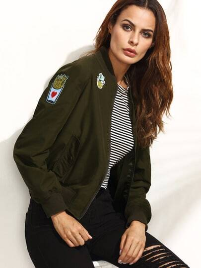 Patches Detail Zip-Up Bomber Jacket