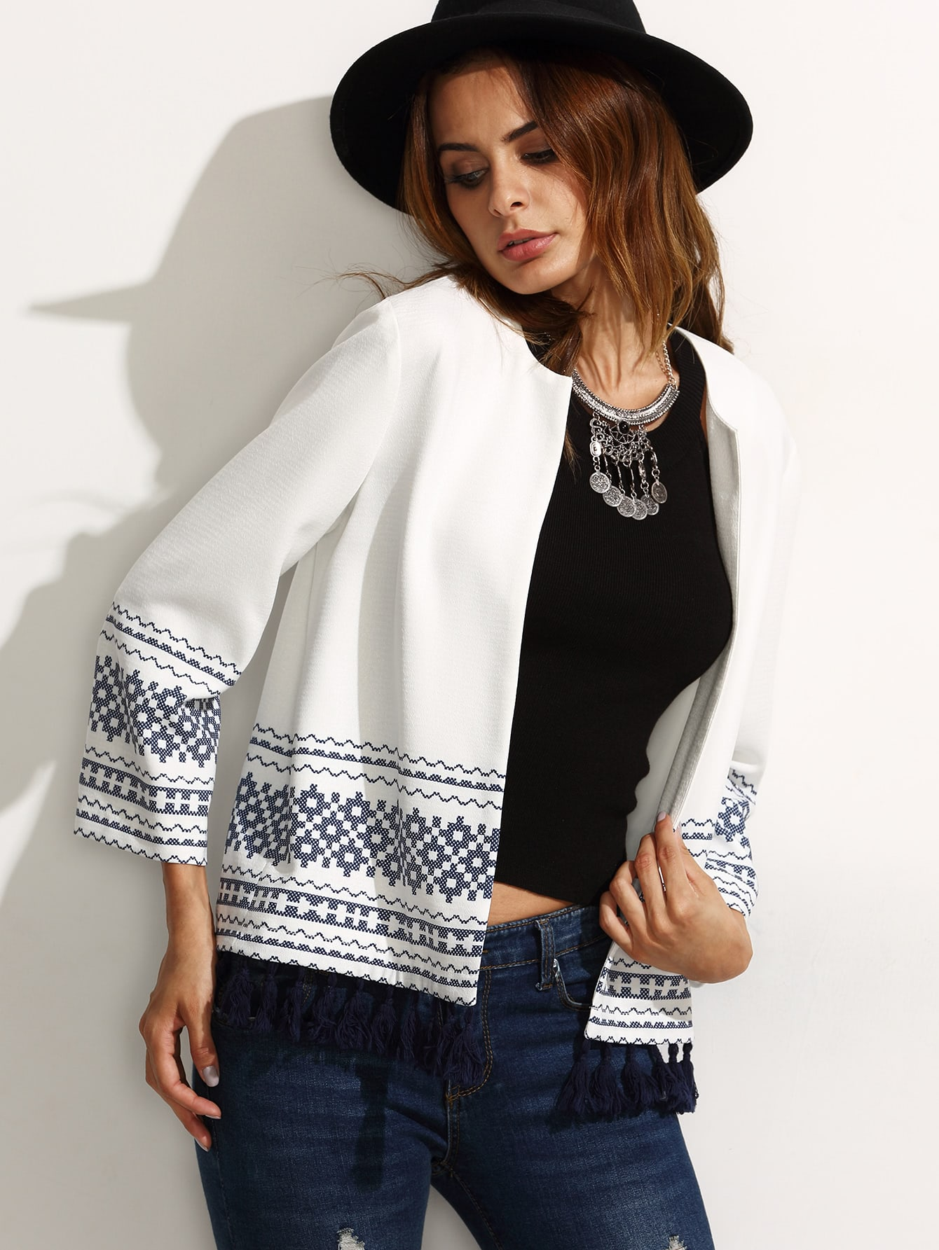 White Print Long Sleeve Tassel Trim Cardigan Outerwear outer160711721