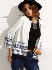 White Print Long Sleeve Tassel Trim Cardigan Outerwear