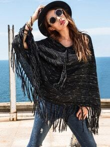 Black Long Sleeve Tassel Hem Sweater Cape