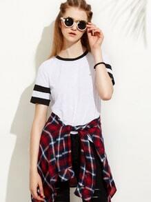 Camiseta rayas manga corta - blanco