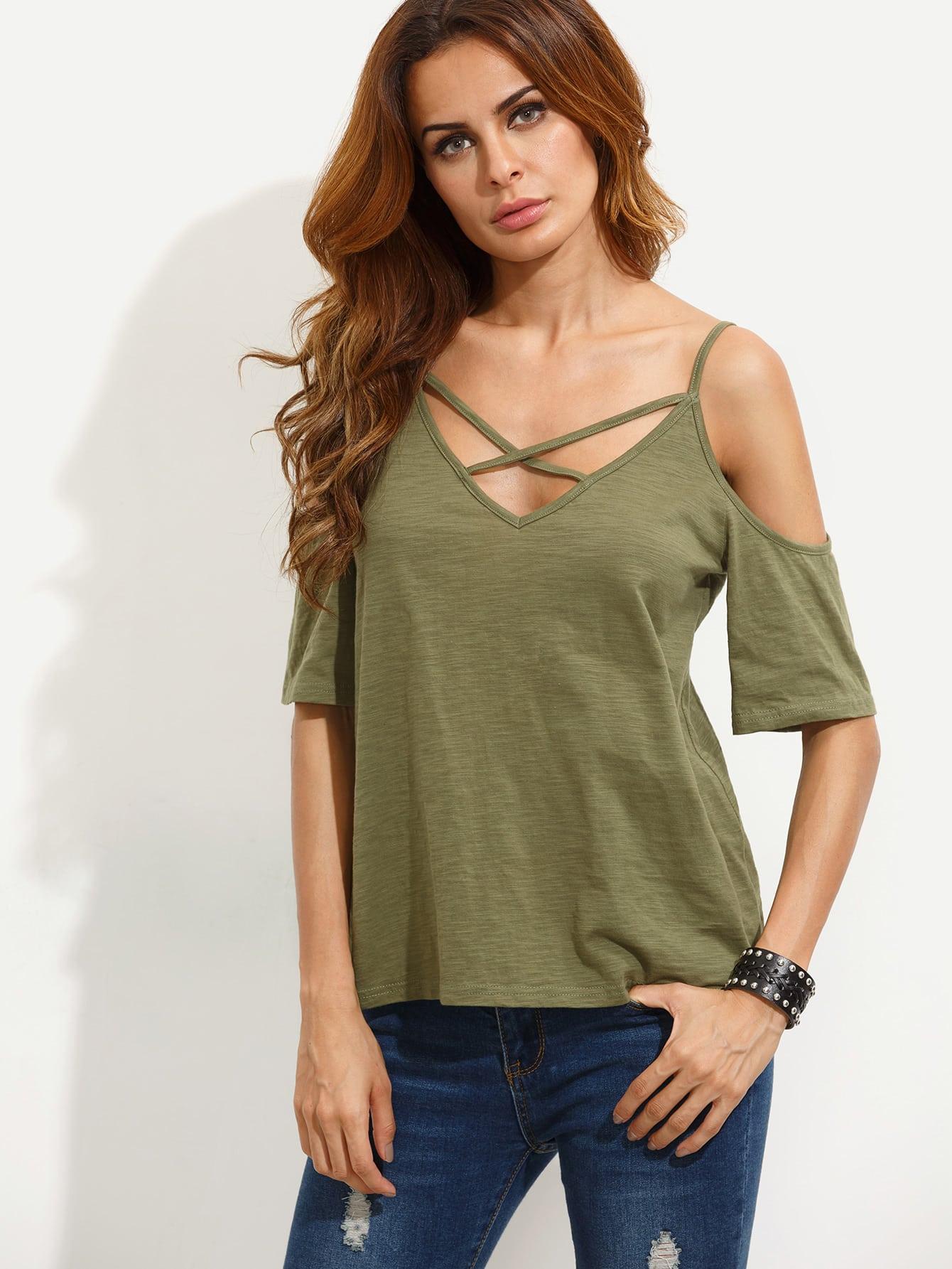Фото V Back Crisscross Open Shoulder T-shirt. Купить с доставкой