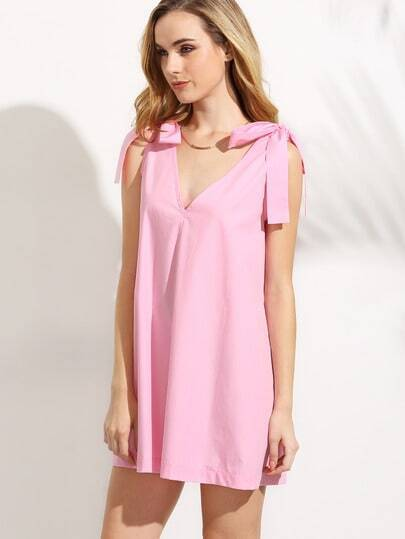 Pink Double V Neck Bow Tie Shoulder Sleeveless Dress