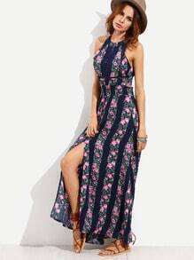 Navy Halter Floral Print Cut Out Tie Back Slit Dress