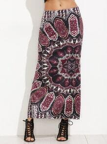 Tribal Print Elastic Waist Split Skirt