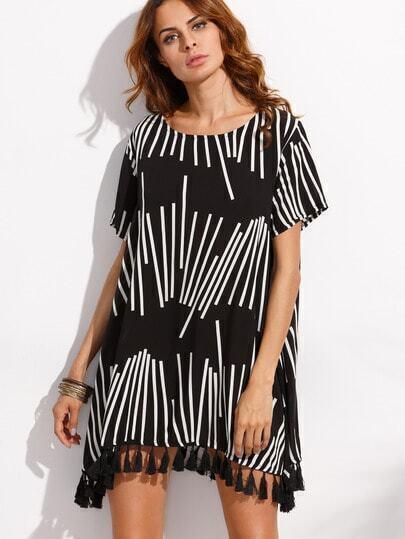 Black Tassel Trim Geo Print Dress