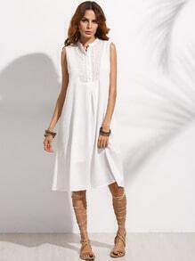 White Band Collar Braided Tape Trim Dress