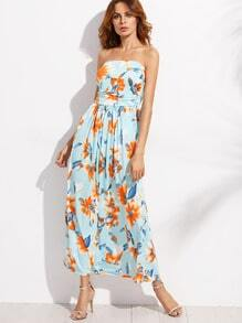 Blue Flower Print Ruched Bandeau Dress