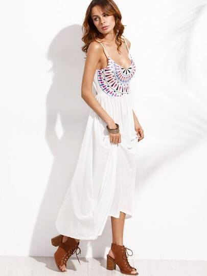 White Geometric Print Cutout Cami Dress
