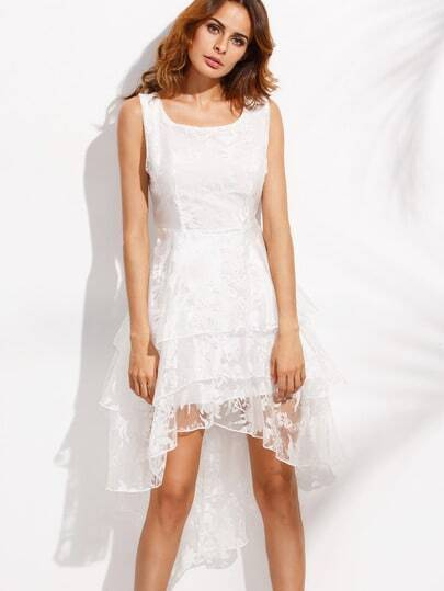 White Layered High Low Flower Organza Dress