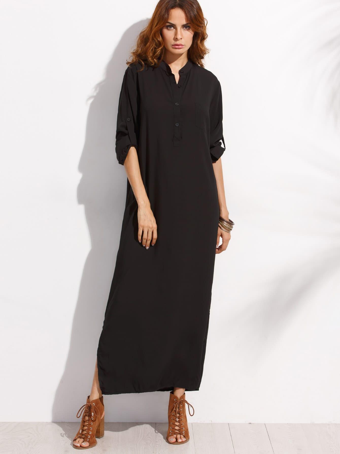 Roll Sleeve Half Placket Shirt Dress half placket striped smock shirt dress