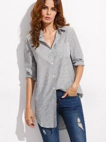 Grey Vertical Striped Blouse With Pocket