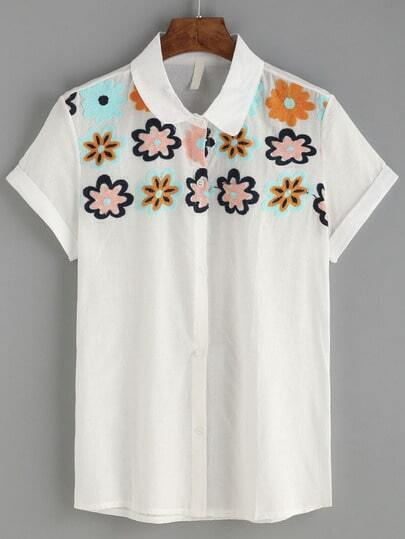 White Flower Embroidered Roll Sleeve Blouse