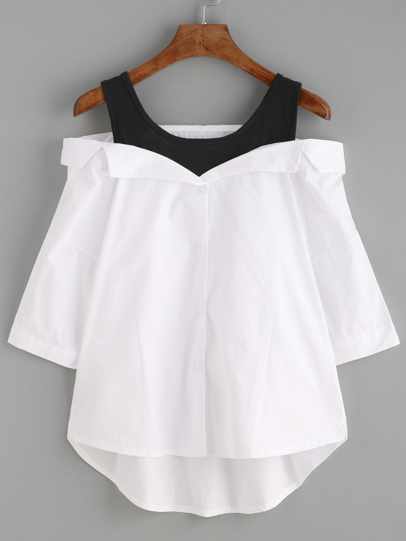 White Contrast Open Shoulder High Low Blouse