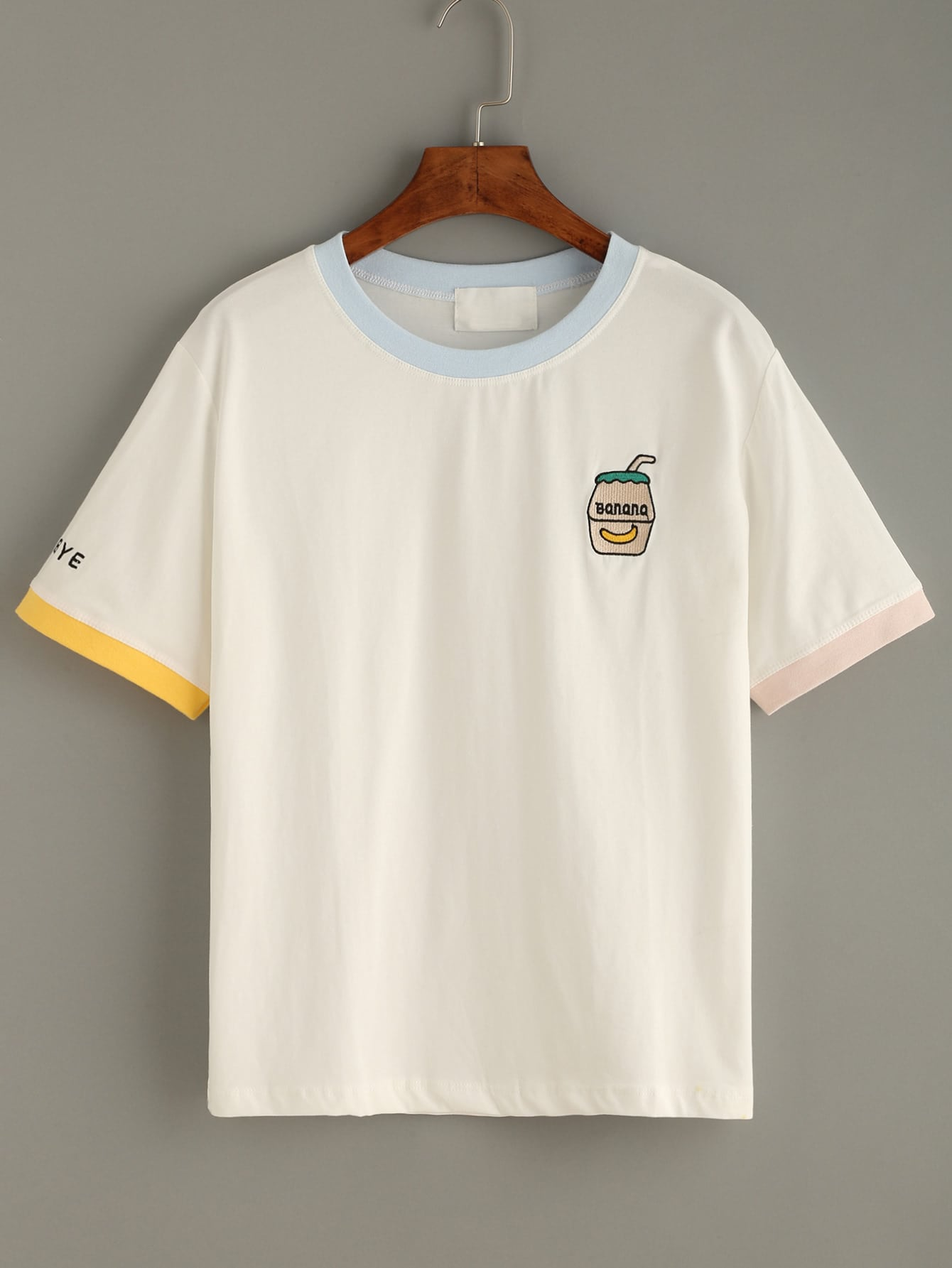Embroidered contrast neck t shirt shein sheinside for How to embroider t shirts