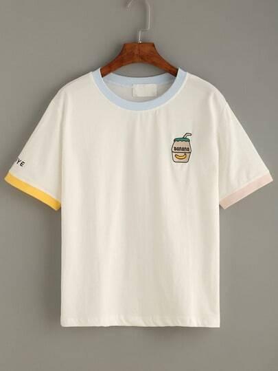 T-Shirt mit Stickereien - weiß