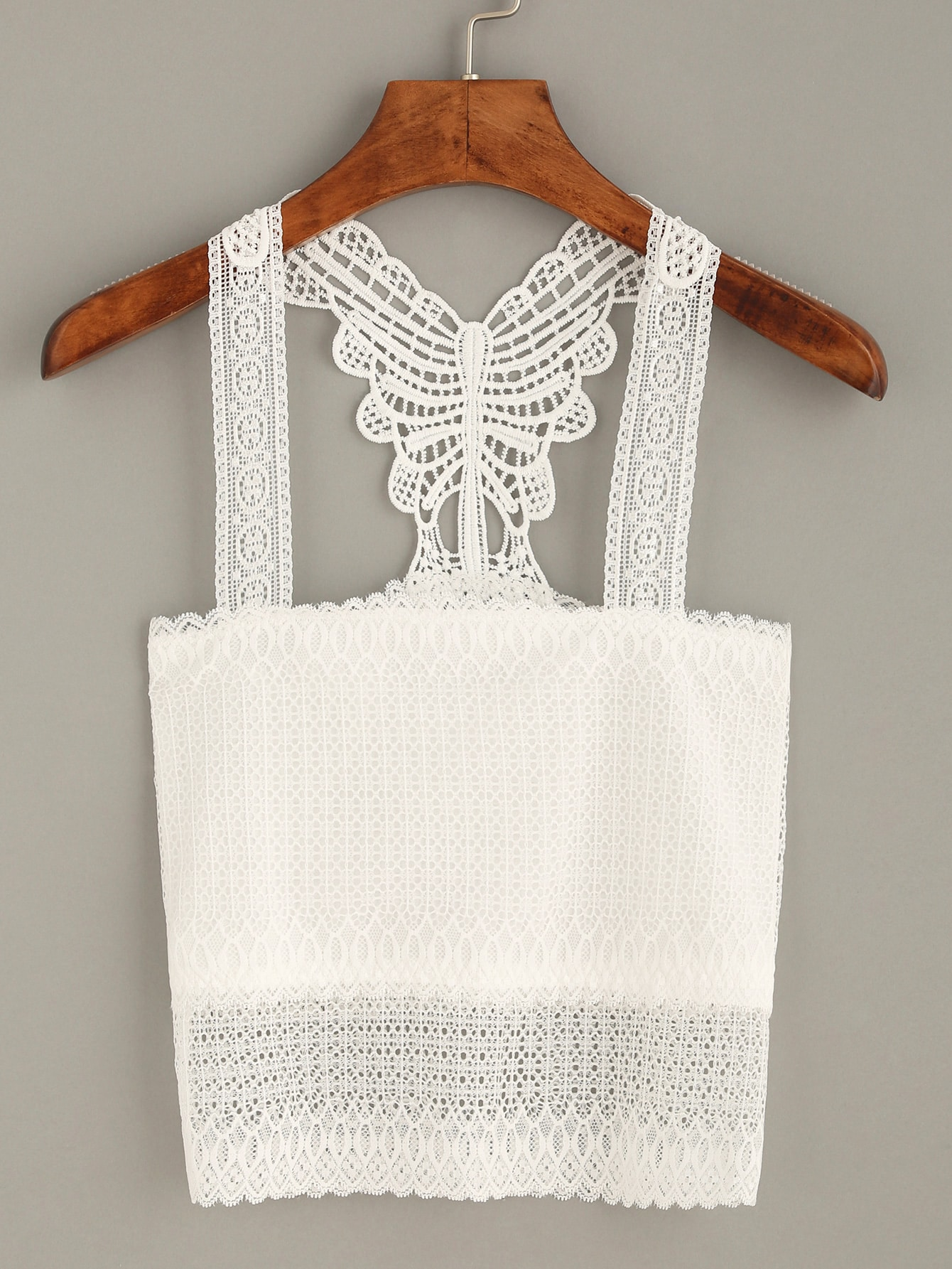 White Crochet Racerback Crop Top vest160712106
