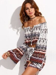 White Ornate Print Off The Shoulder Top With Wrap Shorts
