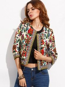 Multicolor Tribal Print Outwear With Embroidered Tape Detail