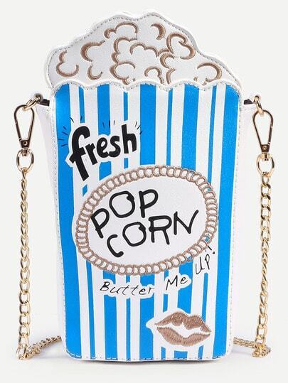 Blue Striped Popcorn Bag With Chain