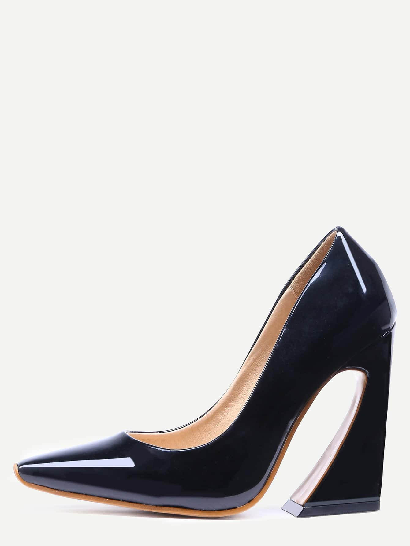 Black Pointed Toe Chunky Pumps shoes160712801