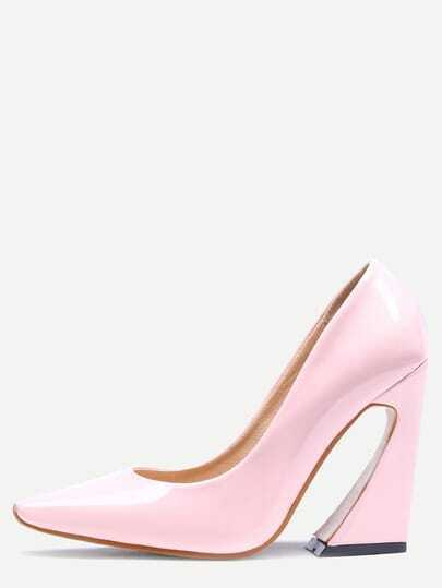 Pink Pointed Toe Chunky Pumps