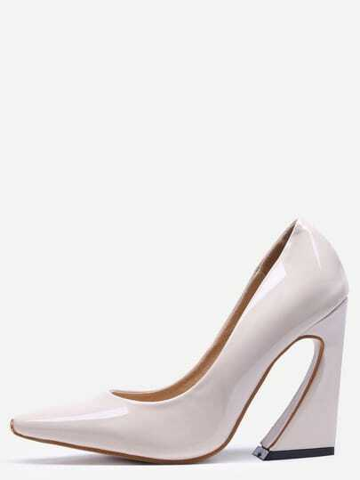 Apricot Pointed Toe Chunky Pumps