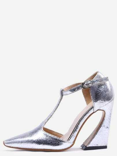 Silver Pointed Toe Buckle T-strap Chunky Pumps