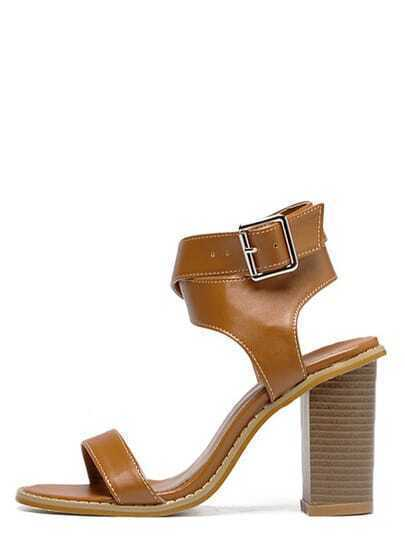 Brown Peep Toe Crisscross Buckle Chunky Sandals