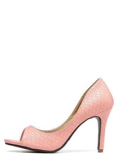 Pink Snakeskin Mule Stiletto Heels