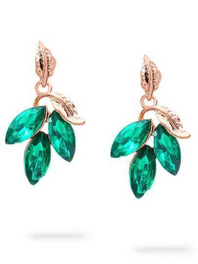 Green Leaf-shaped Rhinestone Earrings