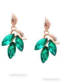 Green Leaf-shaped Rhinestone Earrings