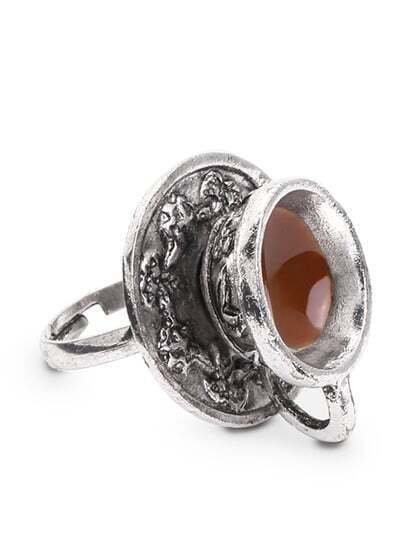 Antique Silver Coffee Cup Spoon Shaped Ring