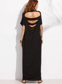 Black Pocket Cutout Back Dolman Sleeve Maxi Dress