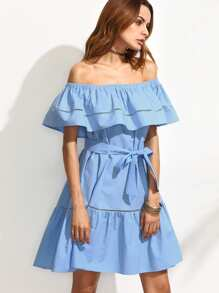 Flounce Layered Neckline Tie Waist Hollow Insert Ruffle Hem Dress