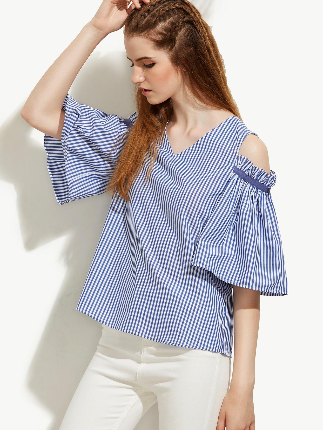 Blue Striped V Neck Cold Shoulder Blouse