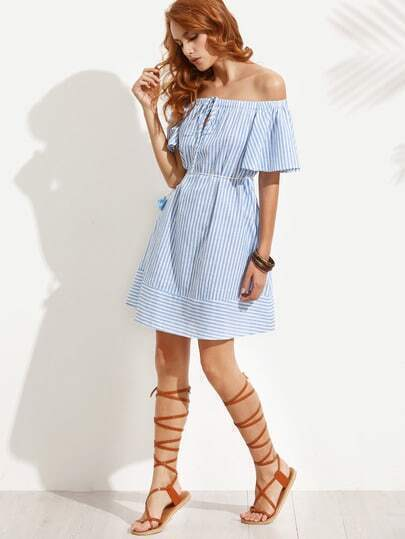 Blue Striped Off The Shoulder Dress With Tassel Waist Rope