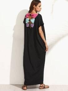 Robe longue manche dolman avec nœud papillon - noir