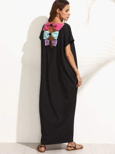 Black Pocket Bow Back Dolman Sleeve Maxi Dress